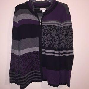 cjbanks Floral Striped Zipper Cardigan Sweater 1X